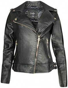 61275399cd  39.99 - Jessica Simpson Womens Faux Leather Moto Biker Jacket Hand Wash  Cold  Do Not Bleach