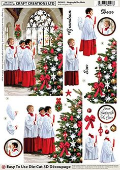 Craft Creations Christmas Die-Cut 3D Decoupage - DCD612 Singing In The Choir - Church Choir Xmas Tree - A4 210x297mm - Step-By-Step Layout: Amazon.co.uk: Office Products
