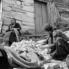Greece, women sorting wool fur and sewing outside home in Métsovon :: AGSL Digital Photo Archive - Europe