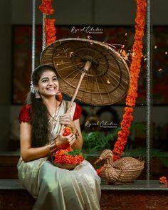 Cute Kids Photography, Concept Photography, Girl Photography Poses, Onam Festival Kerala, Onam Celebration, Happy New Year Photo, Kerala Saree, Saree Photoshoot, Beautiful Girl Photo
