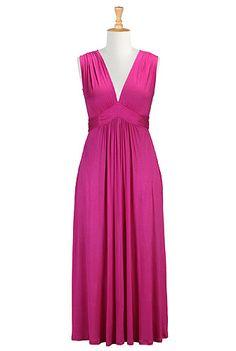 I <3 this Deep V-neck maxi knit plus size dress from eShakti