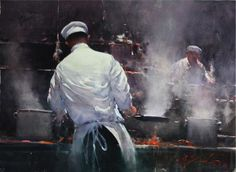 Original watercolour painting Chefs at Work by Joseph Zbukvic (watercolor) Watercolor Artists, Watercolor Portraits, Watercolor Landscape, Landscape Paintings, Watercolor Paintings, Watercolors, Figure Painting, Painting & Drawing, Joseph Zbukvic