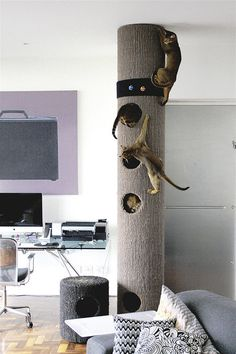 modern-diy-cat-tree-made-from-cardboard - xenia - modern-diy-cat-tree-made-from-cardboard 30 Modern DIY Cat Playground Ideas In Your Interior Cat Climber, Diy Cat Tree, Cat Trees, Cat House Diy, Cat Playground, Playground Ideas, Modern Playground, Playground Design, Cat Shelves