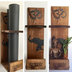 Yoga and elephant gift. All wood, wider than most of the other mat holders in my shop. Its going to hold your mat and keep it clean when not in use. Wall mountable and nicely decorated, its unique and functional for your home or yoga studio. The wood- its solid wood. Its nicely sanded and