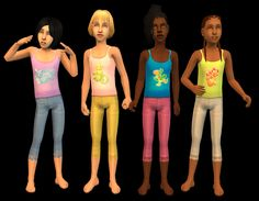 Mod The Sims - Animal Pins PJs for Girls