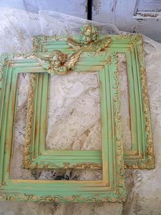 Vintage green ornate frames adorned with cherubs shabby chic wall decor Anita Spero