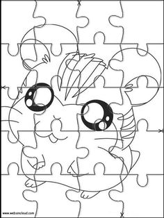 Printable jigsaw puzzles to cut out for kids Hamtaro 3 Coloring Pages