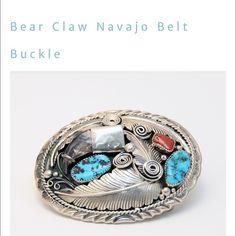 Old Pawn Kingman Turquoise and Coral Belt Buckle MATERIALS  Sterling silver, Turquoise, Coral, Real Bear Claw  WEIGHT  3.6oz 104g    MEASUREMENTS              3.25 x 2.65 x 0.6 inches 8 x 6.5 x 2 cm   DESCRIPTION Perfect alone or a great accent to the set, this handmade sterling silver belt buckle displays the traditional western cultural craftsmanship of the artist Lucky. This traditional piece highlights a rare, genuine bear claw featured with two turquoise and one coral cabochons. Belt…