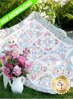 """Rose Hill Lane Pattern - PDF Download: THIS PRODUCT IS A PDF DOWNLOAD that must be downloaded and printed by the customer. A paper copy of the pattern will not be sent to you.Bring your rose garden inside with the Rose Hill Lane quilt! This beautiful design is a Shabby Fabrics original. Finishing to 49½"""" × 62½"""", this quilt features basic piecing and is a great way to sharpen your skills. This product does not count toward the $75 for free shipping."""