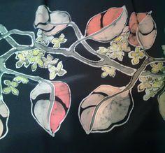 Tralcio floreale, batik su seta, idea Natale