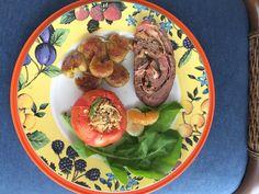 Rocambole de carne e tomates com champignons