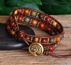 Red Creek Jasper and Seed Bead Wrap Bracelet, Beaded Leather Double Wrap For Her, Artisan Bracelet, Leather and Stone Bohemian Jewelry Beaded Wrap Bracelets, Seed Bead Bracelets, Bracelet Sizes, Beaded Jewelry, Handmade Jewelry, Crochet Bracelet, Diamond Bracelets, Pandora Bracelets, Diamond Rings