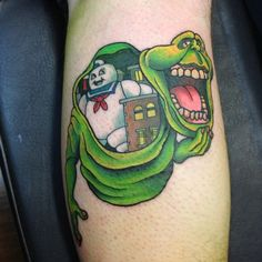 Ghostbusters Slimer Tattoo by Gooney Tunes | Movie Tattoos