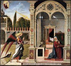 Vittore carpaccio, scuola degli albanesi, annunciazione, ca' d'oro - ca 1503