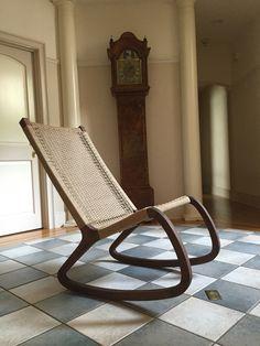 Walnut And Danish Cord Rocking Chair