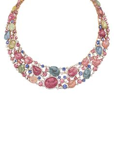 Pastel Sapphire Necklace fom Cellini Jewellers Rose-cut sapphires in multicolor pastel shades, with round brilliant-cut white diamond accents; in 18-karat rose gold, with a diamond pavé clasp.