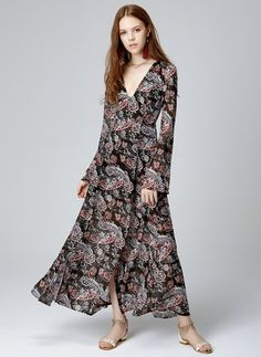 Chiffon Others Long Sleeve Maxi Casual Dresses