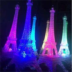 Torre Eiffel Plástico 13 Cms Alto Con Luz Led Para Eventos - $ 50.00