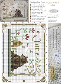 Cross stitch chart 4 Sampler saisonnière carte tableaux printemps été automne hiver