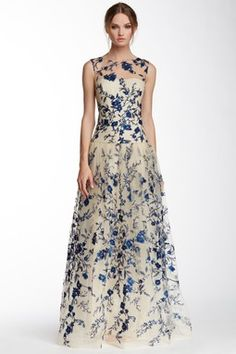 Marchesa Notte Illusion Neck Floral Embroidered Gown