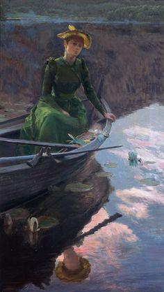 Christian Skredsvig: 'Aften på innsjøen', 1892