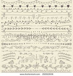 Set of hand drawn lines border and elegant design elements. Illustration vector…