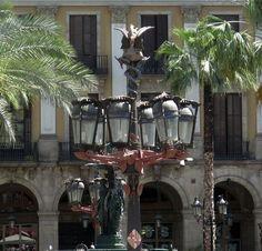 Street (or plaza) lamps by Antoni Gaudi, Placa Reial, Barcelona