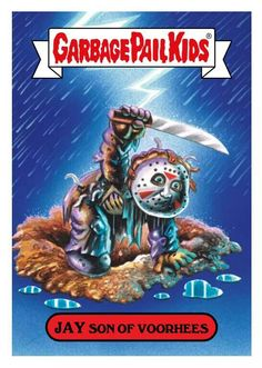 Jason Voorhees (GPK) Love these from when I was a kid. Would love some halloween style ones framed or even these printed and framed. I love the idea of a few pops of color and funny amongst dark art :)