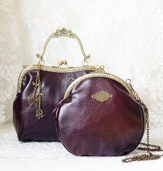 Vintage Style Brown Pu Metal Frame Purse Coin Handbag Pouch Clutch Tote Bag Kiss Lock