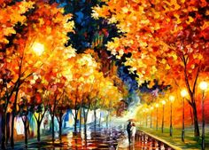 We would like to present hand painted oil on canvas painting of Afremov's artwork mentioned in the title. This art piece made by Leonid Afremov Studio w. Romantic moment by Leonid Afremov Oil Painting Reproductions, Leonid Afremov Paintings, Oil Paintings, Impressionist Paintings, Original Paintings, Easy Paintings, Fine Art, Oil Painting On Canvas, Painting Art