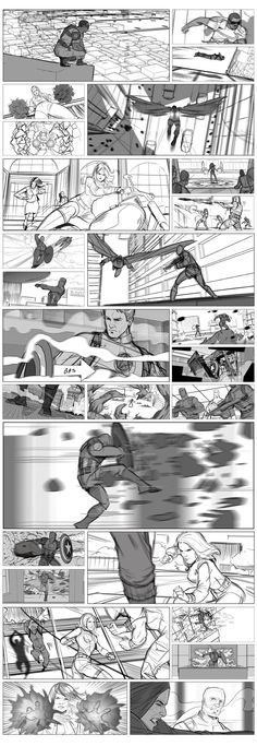 Tony Liberatore drew some stunning frames for the Marvel film - comic storyboards