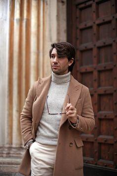 Men's Look - Filippo Fiora (November 2015) • Double-breasted camel coat - Caruso • Sweater - Uniqulo • Pants - Brioni • Watch - Hamilton