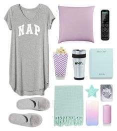"""Sleep In: Lazy Day"" by lilypads-and-love ❤ liked on Polyvore featuring Gap, Victoria's Secret, Bluebellgray, Logitech, Production Q, Surya and Lapcos"