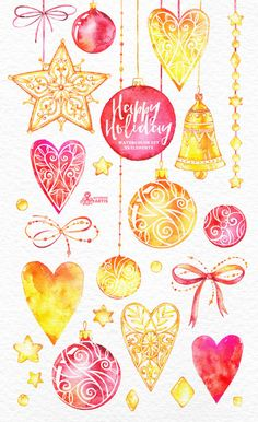 Happy Holiday. 33 Watercolor Elements hand painted by OctopusArtis