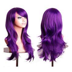 "27.5"" 70cm Long Wavy Curly Cosplay Fashion Mermaid Fantasy Wig heat resistant dark purple"