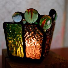 Stained glass Candle holder: syn- Reimi Nishida