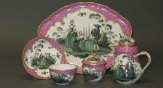 A Table Set, A tea cup and saucer, sugar pot with a cover, creamer and serving tray, 19th c