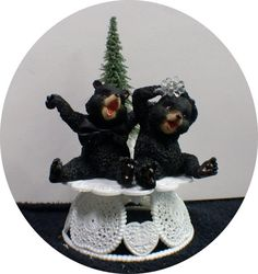 Bears Nature cubs Tree Wedding Cake Topper groom by YourCakeTopper
