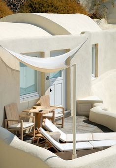 Mystique, Santorini—Private Balcony.   Love the canopy!