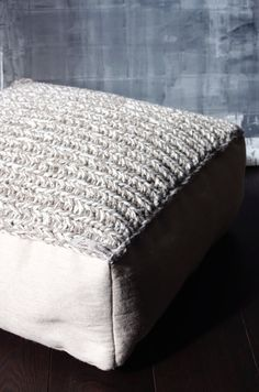 wool footstool- made to order knitting furniture-crochet cushion ...