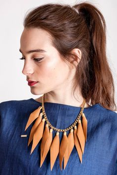 Camel brown gold edition: made of leather spikes with galvanized brass and metal components. Punk Subculture, Kids Necklace, Caramel Brown, Edgy Look, Wild Child, Spikes, Necklace Designs, Everyday Outfits, Statement Jewelry