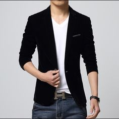 Mens Velvet Blazer Black Mens Blazer Slim Fit Suit Jacket Black velvet 2015 spring autumn outwear coat Free shipping Suits For Men Jackets & Coats Blazers
