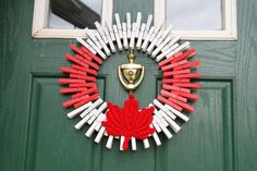 Items similar to Team Canada Summer Olympics 2016 Wreath, Maple Leaf Wreath, Red and White Clothespin Wreath, Patriotic Home Decor, Canadian Flag on Etsy Canada Day Party, Canada Summer, Kids Clothing Canada, Canada Day Crafts, Crafts To Make, Crafts For Kids, Clothes Pin Wreath, Diy Wreath, Wreath Ideas