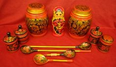 Lot of Assorted Russian Painted Wood Collectibles- Urns Nesting Doll Spoons 34.99$