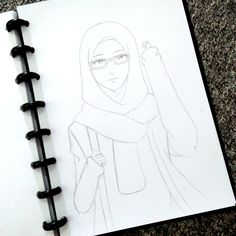 #anime #muslimah #girl #paper #pencil #handrawing