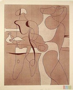 Willi Baumeister - 1889-1955 - Abstract - color lithograph.