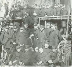 Comander W. S. Schley  and his relief expedition crew with the six survivors of the Greely Expedition, June 1884