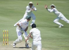 Graeme Smith looks back to see the nick fly towards slip, South Africa v Pakistan, 3rd Test, Centurion, 1st day, February 22, 2013
