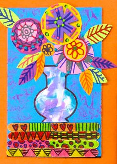 In the Art Room: Folk Art Still Life Inspired by Kerri Ambrosino (Cassie Stephens) Classroom Art Projects, School Art Projects, Art Classroom, Summer Art Projects, Diy Projects, Classe D'art, Third Grade Art, Kindergarten Art, Art Lessons Elementary