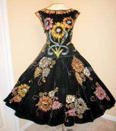 "50's Mexican Sequin and Velvet Dress Set - in 1950s Los Angeles, Mexican stuff, like fans and hair pieces were ""in."""
